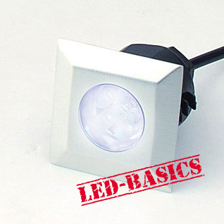 LED-Basics, Outdoor Lighting, Single square deck light kit with transformer, IP65, White LED