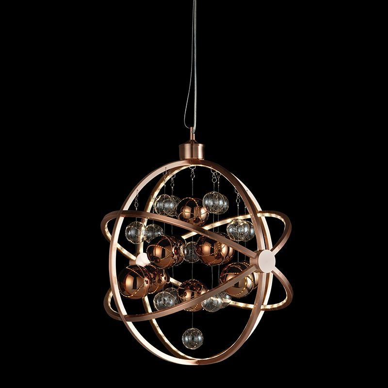 LED Copper plate with clear & copper balls Pendant Light MUNI-CO by Endon