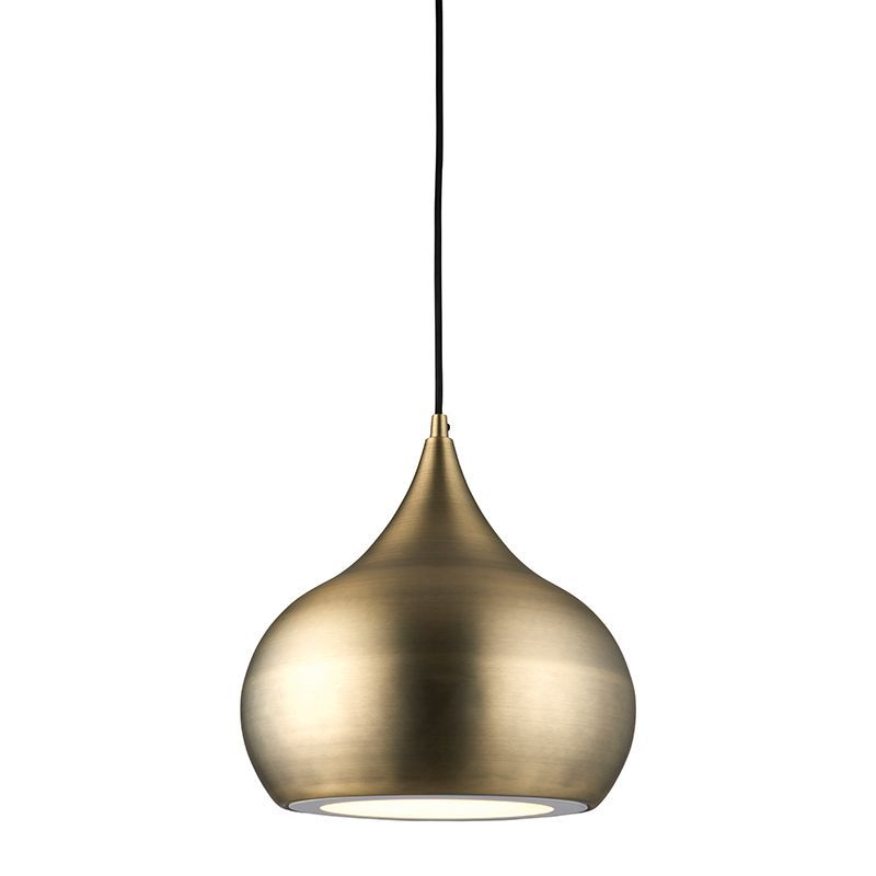 LED Matt antique brass effect plate Pendant Light 61299 by Endon