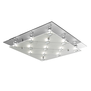 Led Square Flush - Frosted And Clear Glass Shade 3822Cc