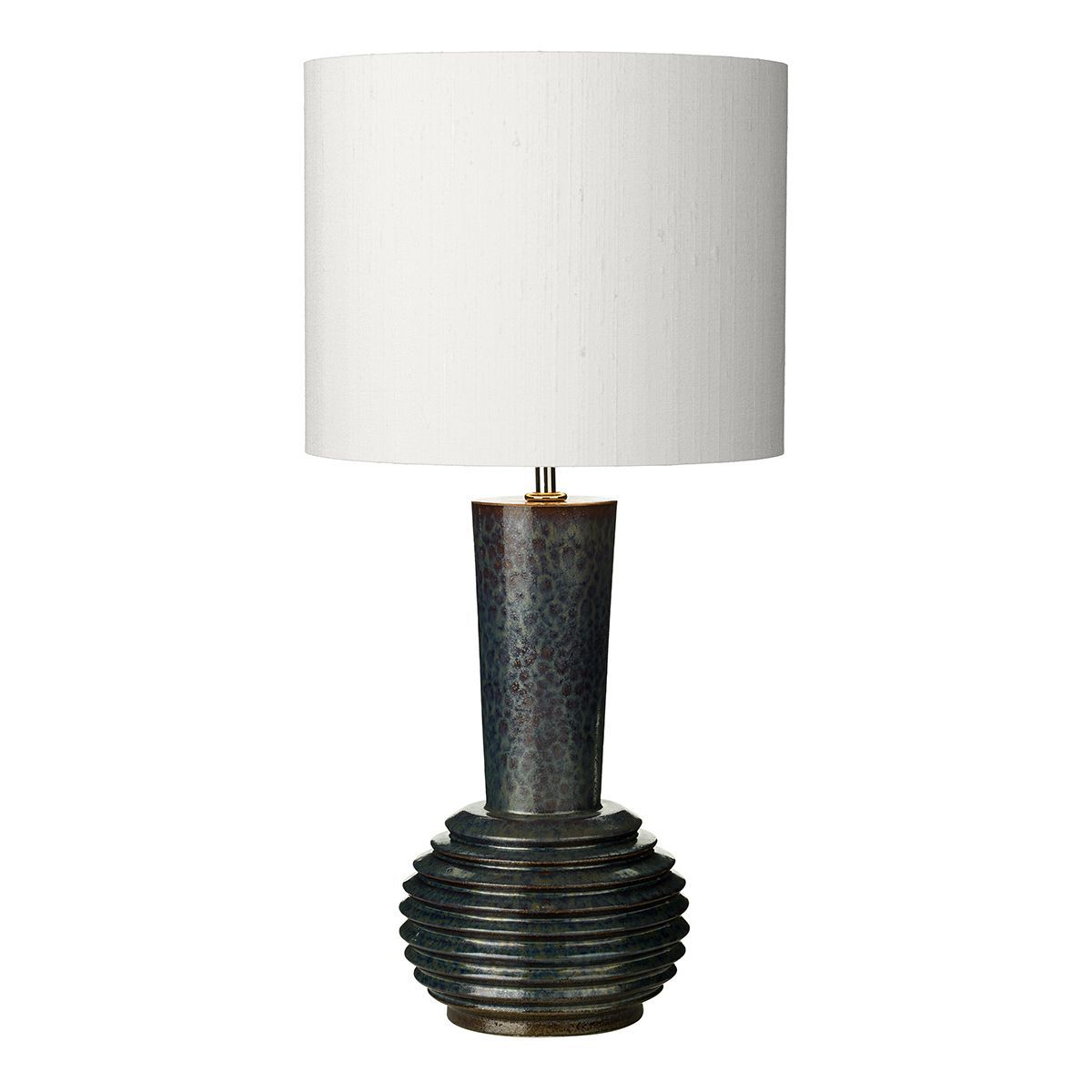 liquid table lamp ribbed black oil finish small base only hand made 7 10 day delivery. Black Bedroom Furniture Sets. Home Design Ideas