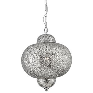 Moroccan 1 Light Pendant - Shiny Nickel And Clear Acrylic 9221-1Ss