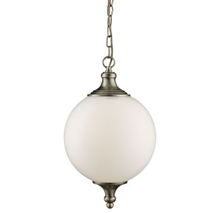 Pendant - 1 Light Pendant, Antique Brass With Opal Glass Ball Shade (Double Insulated) Bx3051Ab-17