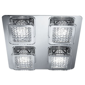 Quadrant Led Square, Chrome & Glass + Acrylic Beads 2400 Lumens (Double Insulated) Bx7324-4Cc-17
