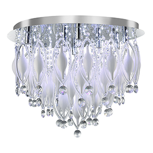 Spindle 9 Light And Led Chrome Ceiling - White And Clear Glass Deco With Remote 2459-9Cc