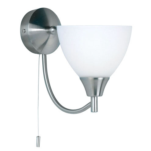 Satin Chrome Wall Bracket + Opal Glass 1805-1SC