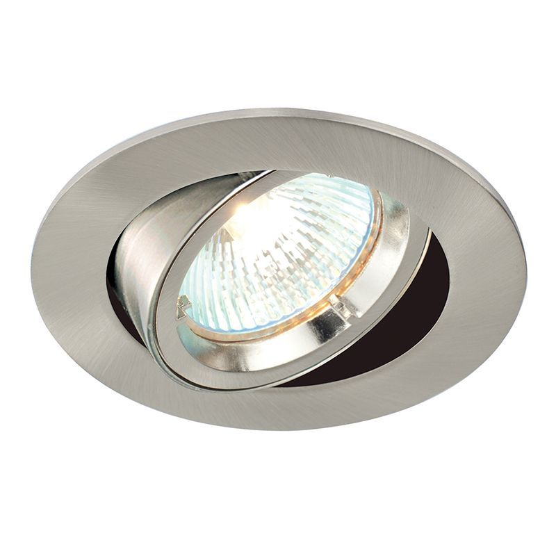 Satin nickel effect plate Recessed Light 52333 by Endon