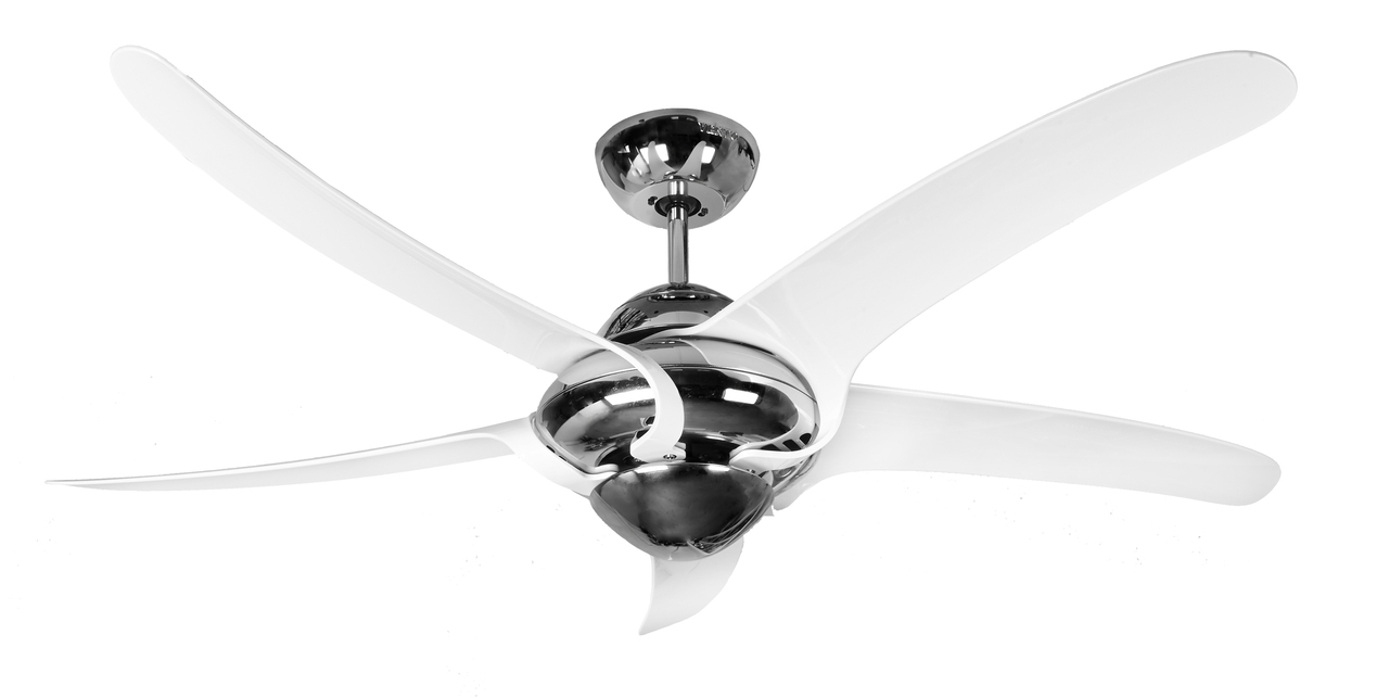 Vento Uragano Hurricane 54 Chrome With White Blades Ceiling Fan Remote Control 115366