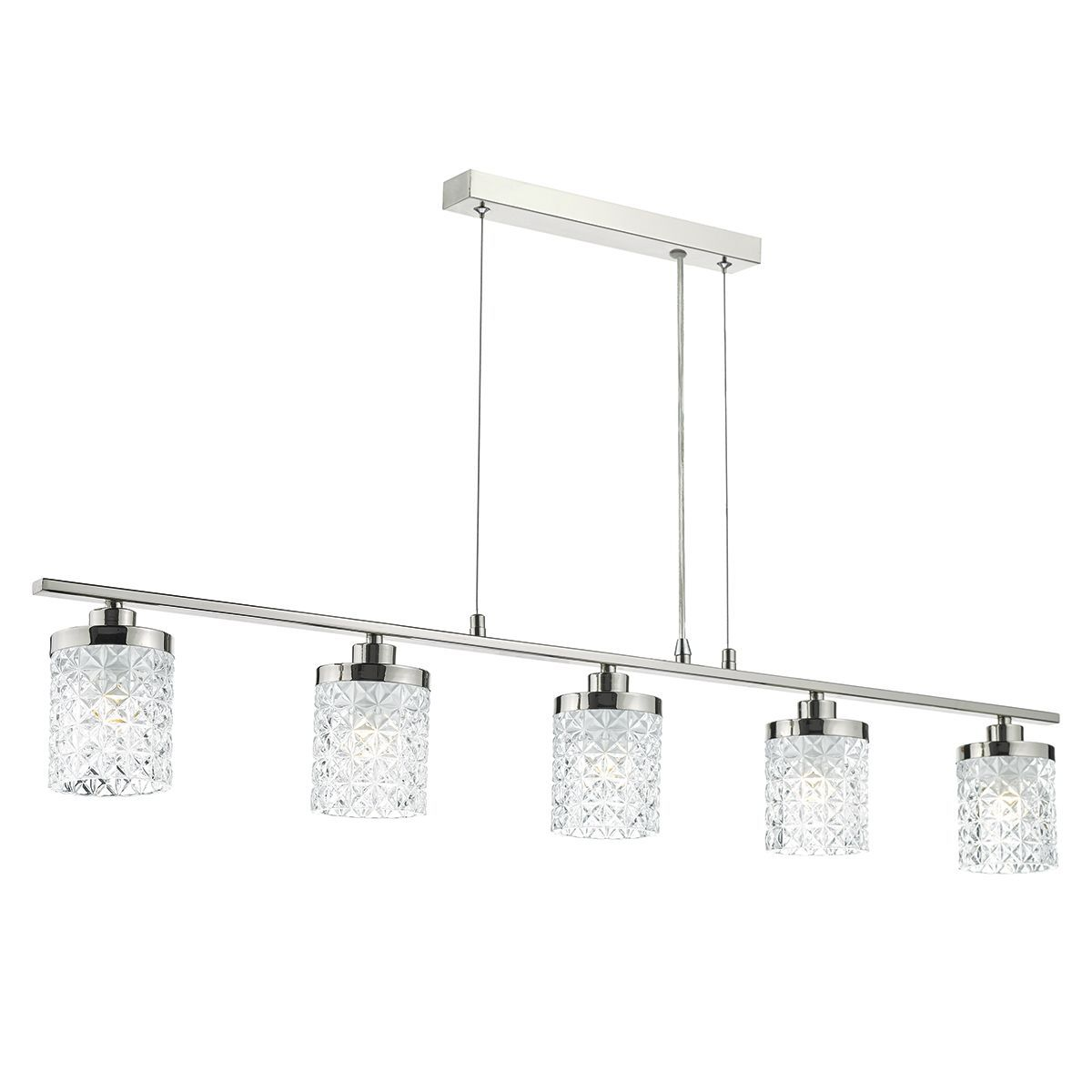 Kitchen Lighting Victoria: Victoria 5 Light Bar Pendant Polished Nickel Clear Glass