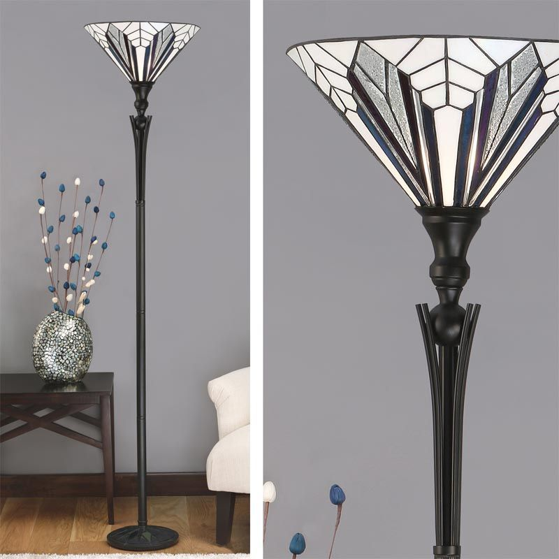 Astoria uplighter art deco floor lamp tiffany style tf63933 17 for Art deco style lamp