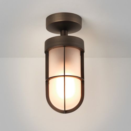Cabin Frosted Semi Flush 7853 Bronze Ceiling Light