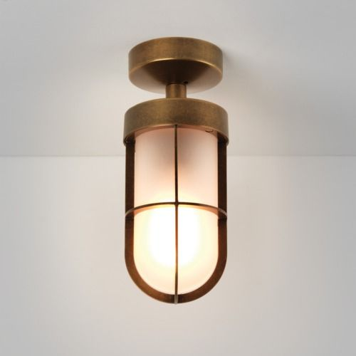Cabin Semi Flush Frosted 7854 Antique Brass Ceiling Light