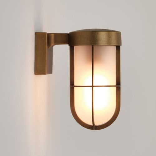 Cabin Wall Frosted 7850 Antique Brass Wall Light