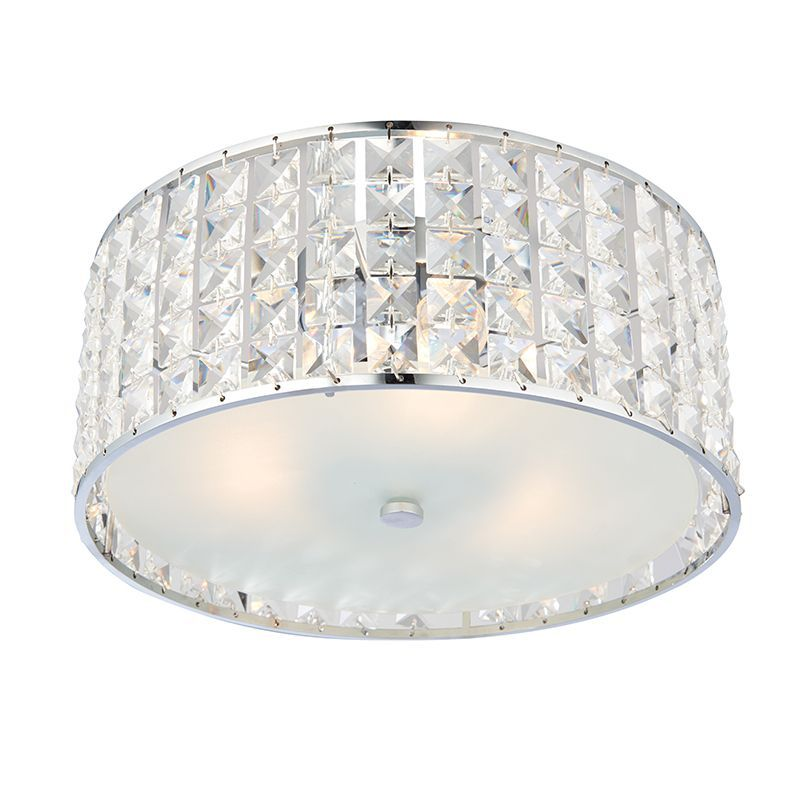 Clear Crystal Detail Chrome Effect Plate Ip44 Bathroom Flush Light 61252 By Endon