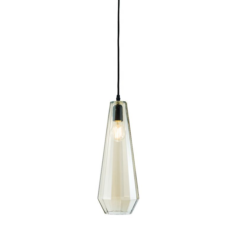 Cognac tinted glass & matt black Pendant Light 61501 by Endon