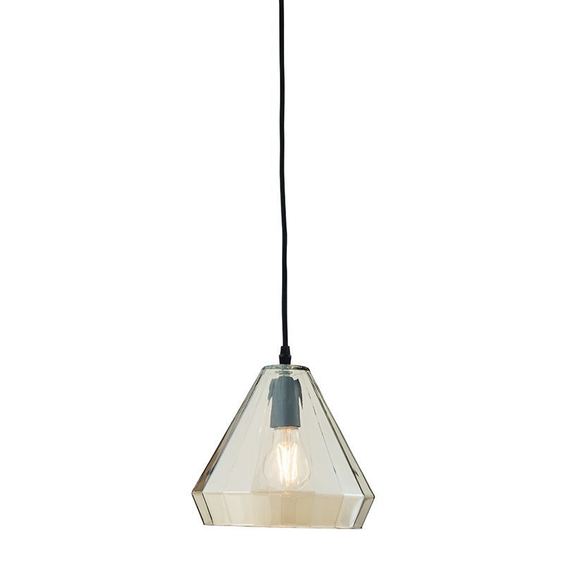 Cognac tinted glass & matt black Pendant Light 61502 by Endon