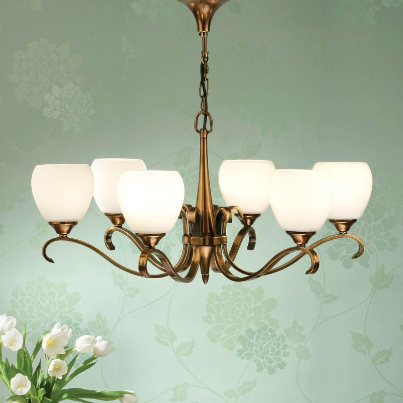 Columbia Brass 6 light Chandelier, Opal Glass (Modern Classic, Medium Chandlier) CA6P6B90