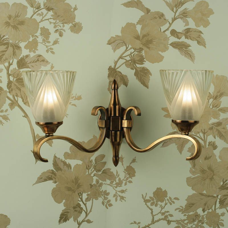 Columbia Brass Double Wall Light, Deco Glass (Art Deco, Modern Classic, Wall Lamp) CA6W2B6