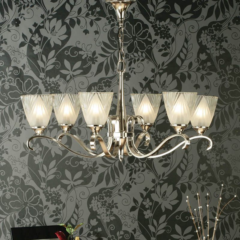 Columbia Nickel 6 light Chandelier, Deco Glass (Art Deco, Modern Classic, Medium Chandlier) CA6P6N6