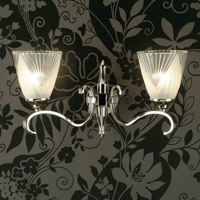Columbia Nickel Double Wall Light, Deco Glass (Art Deco, Modern Classic, Wall Lamp) CA6W2N6
