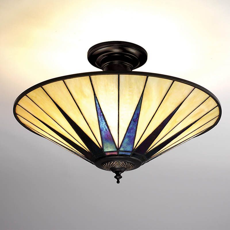 Dark Star Semi-Flush Ceiling Light (Art Deco, Flush Fitting) TG08SF (Tiffany style)