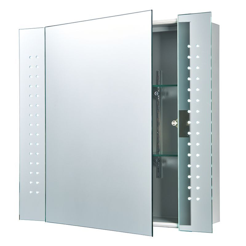 led bathroom mirror cabinet led mirrored glass amp matt silver effect paint ip44 19165