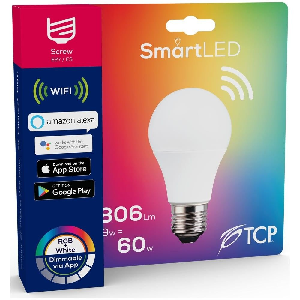 TCP Smart  LED WiFi Lightbulb 9W ES Warm White & Colour Changing  (806 lumens) 290432