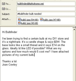 Email your bulbs details to bulbfinder@lightahome.net